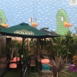 Beer garden with mural of a cool duck.