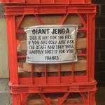 Don't burn the giant Jenga.