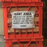 Don't burn the giant Jenga.